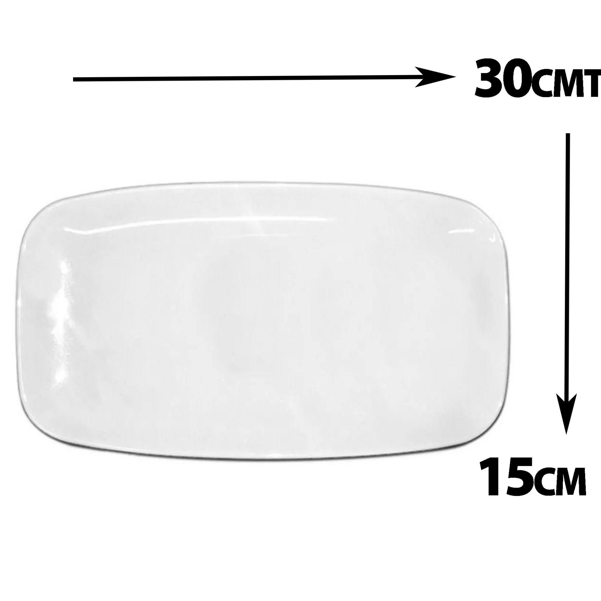 Travessa Retangular Branca Melamina Premium 30x15cm