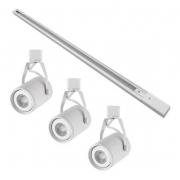 Kit Trilho Eletrificado 1m Branco Lille Nordecor + 3 Spot Par20 Para Sala Quarto Cozinha Quadro