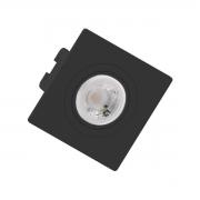 Spot de Embutir Mini Dicroica Quadrado Orientável MR11 Face Plana Preto