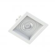 Spot de Embutir Mini Dicroica Quadrado Orientável MR11 Face Recuada Branco