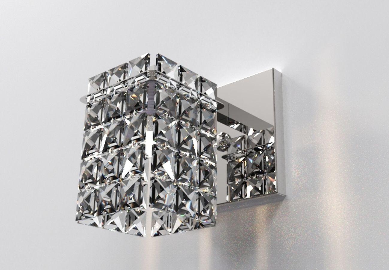 Arandela de Cristal Legitimo Quarto Sala Escada Lavabo Espelho Painel Cabeceira De Cama Living Hall Entrada C/ Led