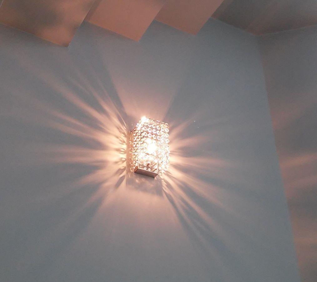 Arandela de Cristal Legitimo Quarto Sala Escada Corredor Painel Cabeceira De Cama Living Hall Entrada C/ Led