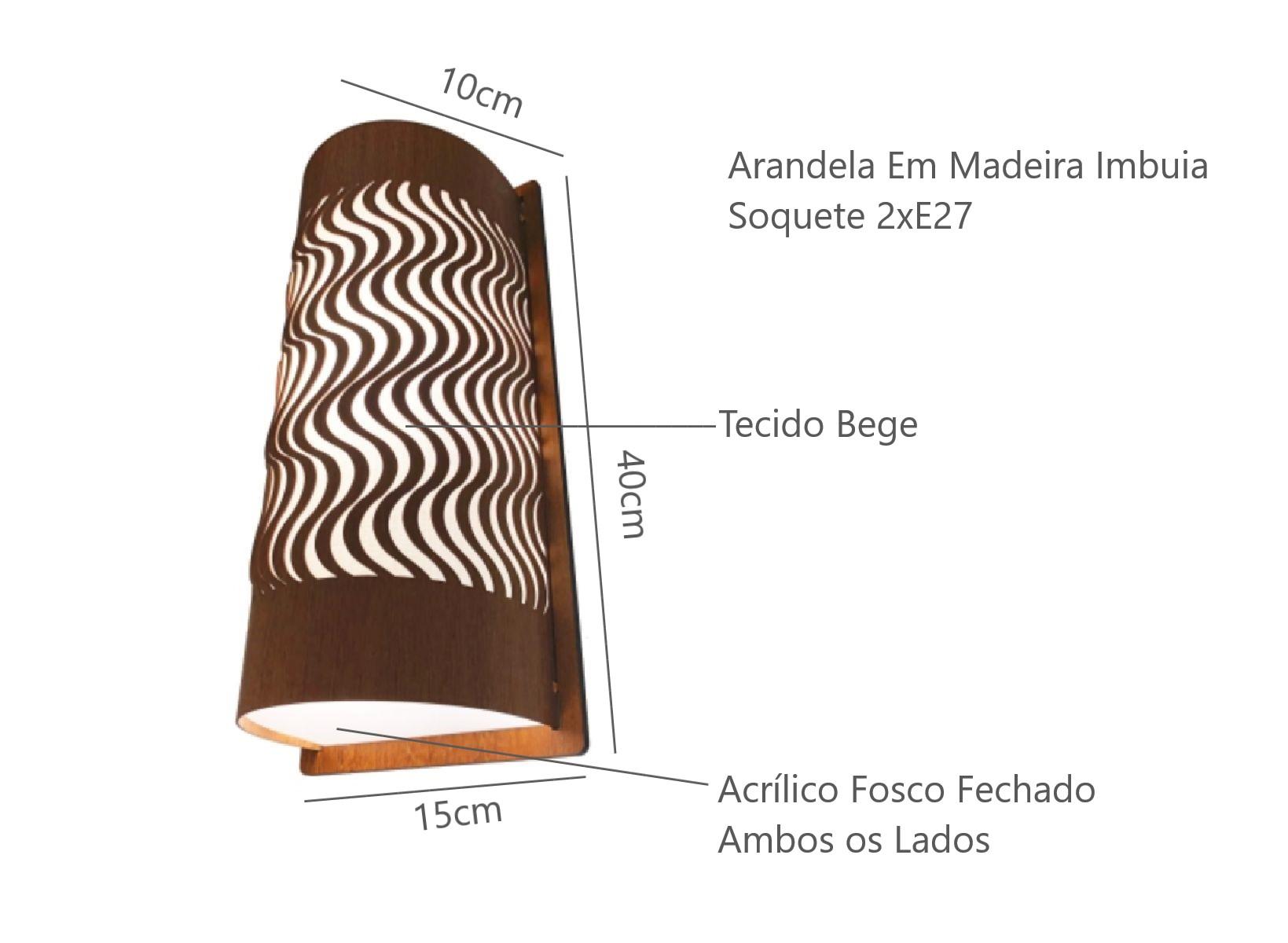 Arandela Dunas Madeira Imbuia Para Sala Corredor Escada Hall de Entarda