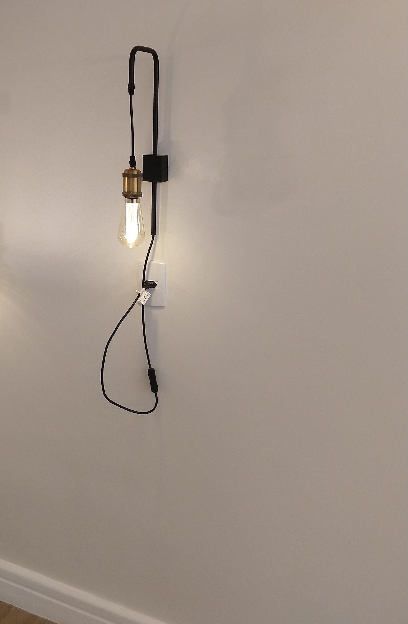 Arandela Industrial Moderna Com Chave e Led Para Quarto Painel Cabeceira Cama