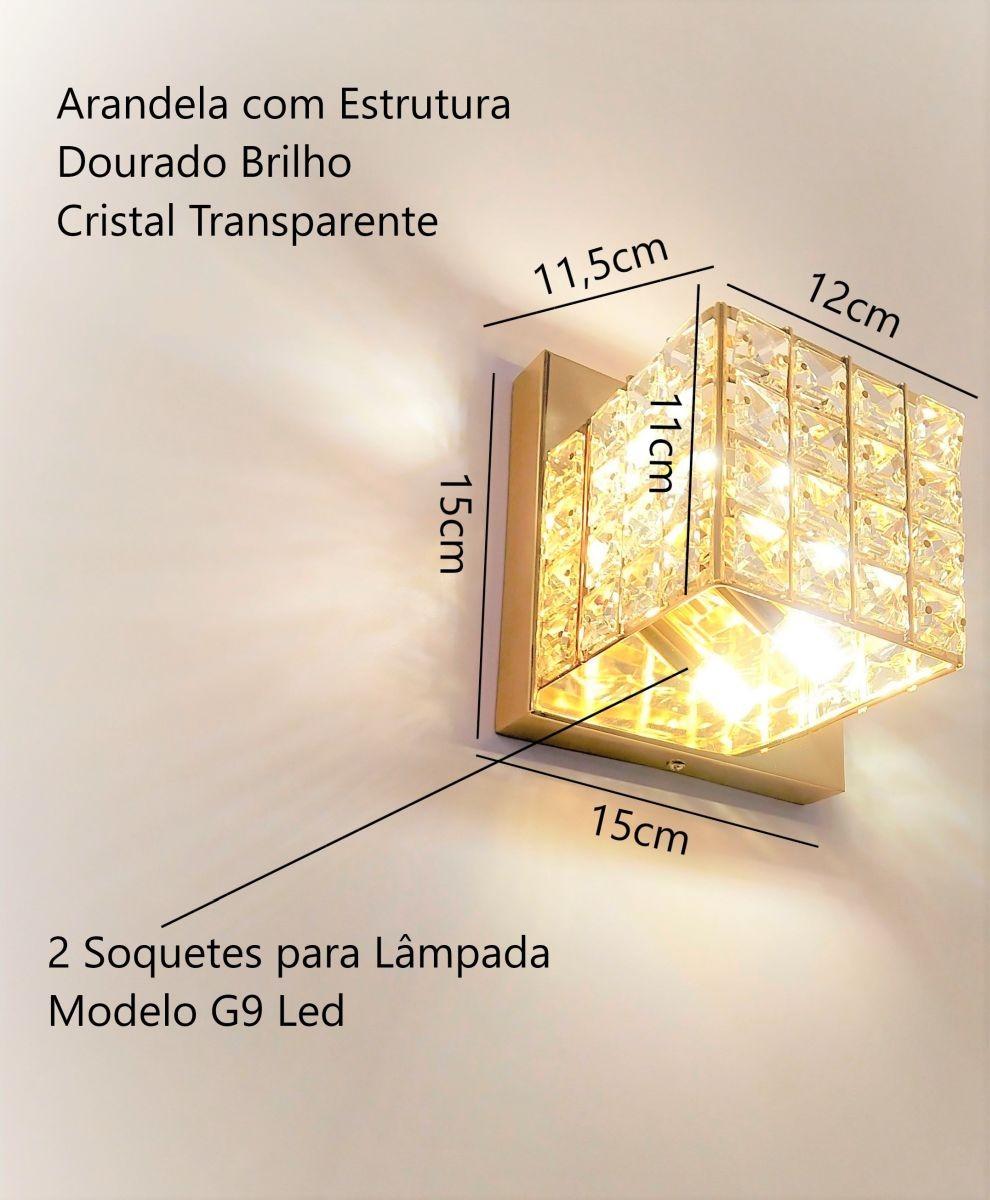 Arandela Luxor Dourado Quarto Sala Escada Corredor Lavabo Espelho Painel Cabeceira De Cama Living Hall Entrada C Led