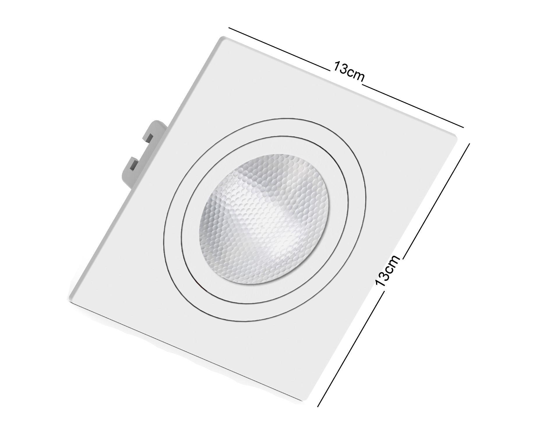 Spot de Embutir Par20 Quadrado Orientável Face Plana Branco