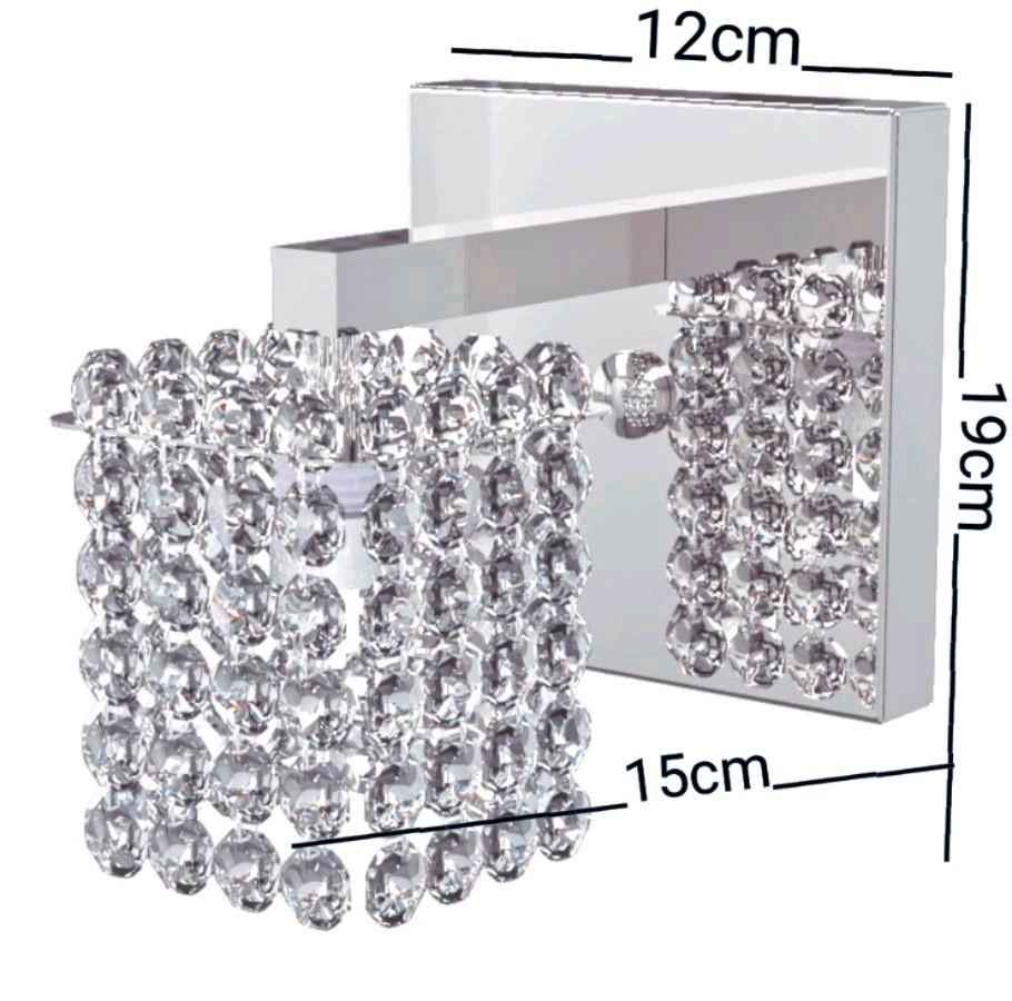Kit 2 Arandelas de Cristal Legitimo Quarto Sala Escada Corredor Lavabo Espelho Painel Cabeceira De Cama