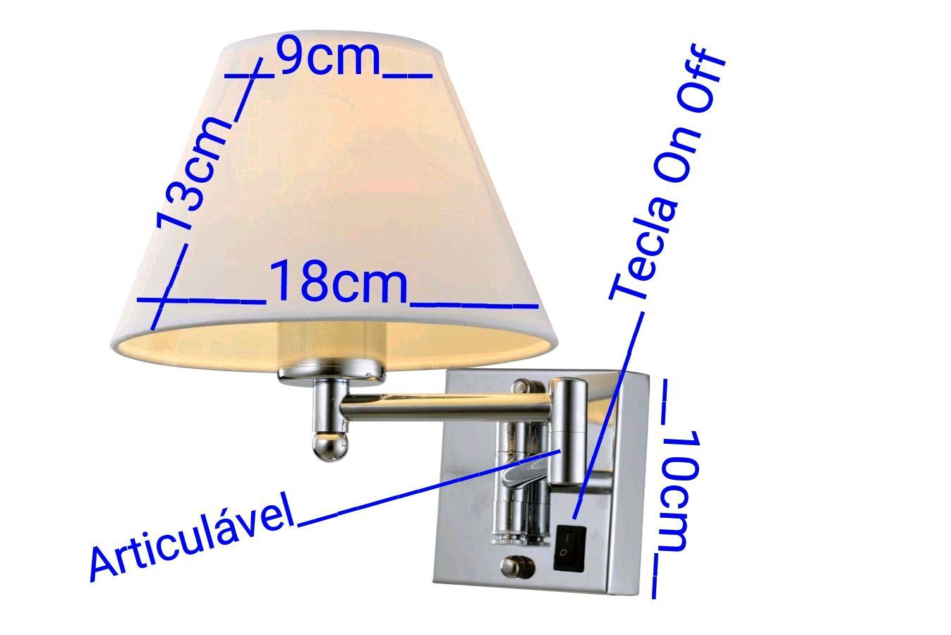 Kit 2 Unidades Arandela Vela Cúpula Branca Com Tecla Quarto Painel Cabeceira de Cama Sala Hotéis