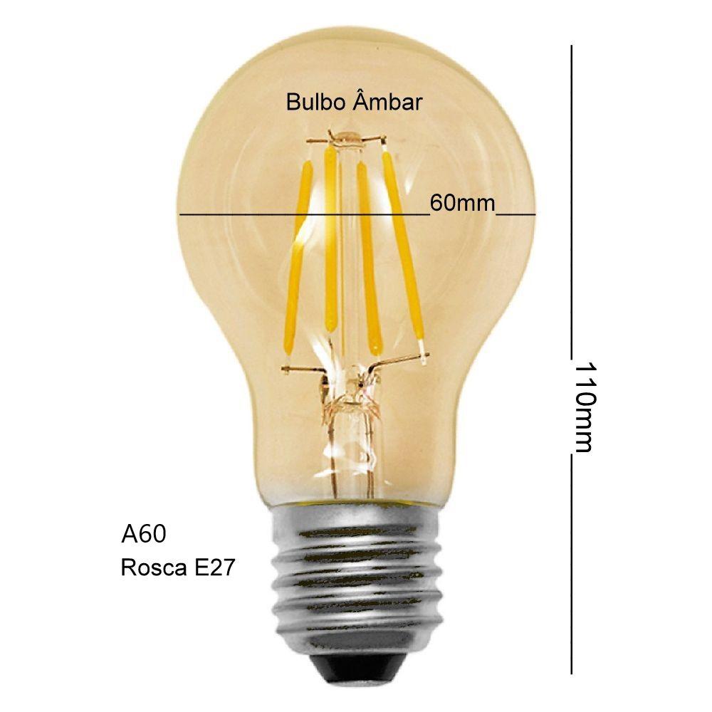 Kit 9 Lâmpadas Led Filamento Bulbo Âmbar A60 4W Luz Amarelada E27 Vintage Bivolt
