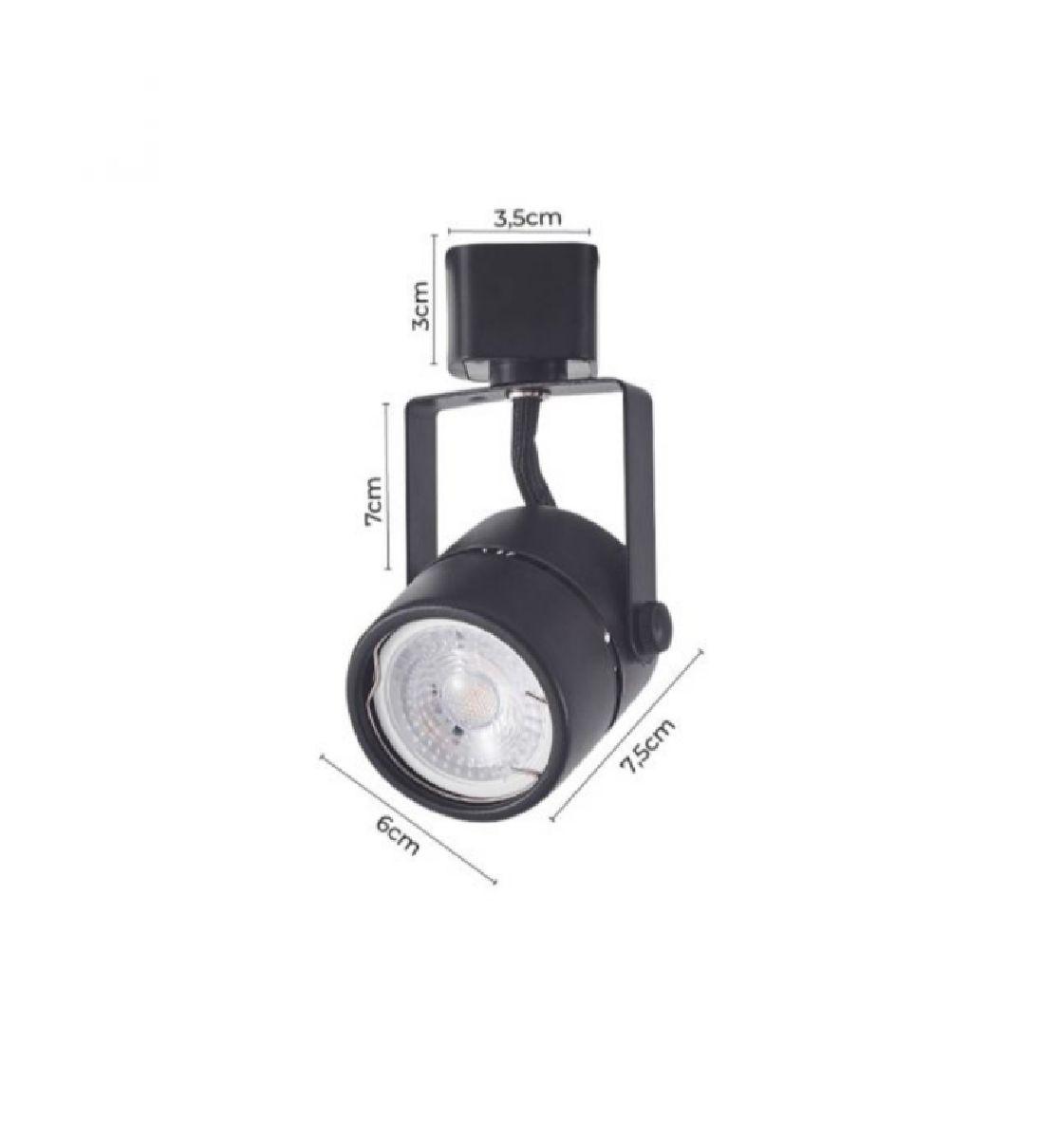 Kit Trilho Eletrificado 1,5m Preto Nordecor + 4 Spot Redondo MR16 / GU10 + Lâmp. Led Luz Quente