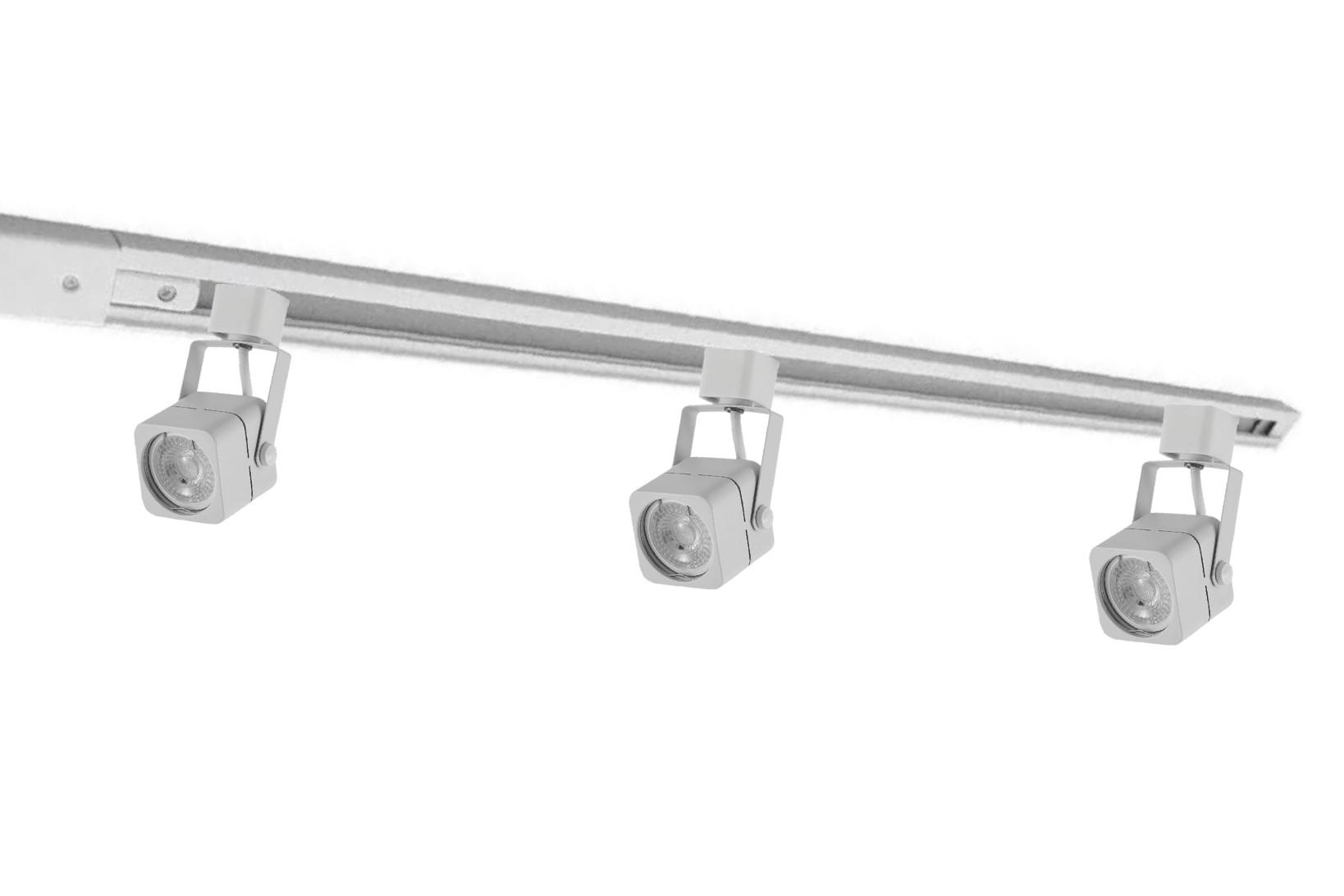 Kit Trilho Eletrificado 1m Branco Nordecor + 3 Spot Quad MR16 / GU10 Para Sala Quarto Cozinha Quadro