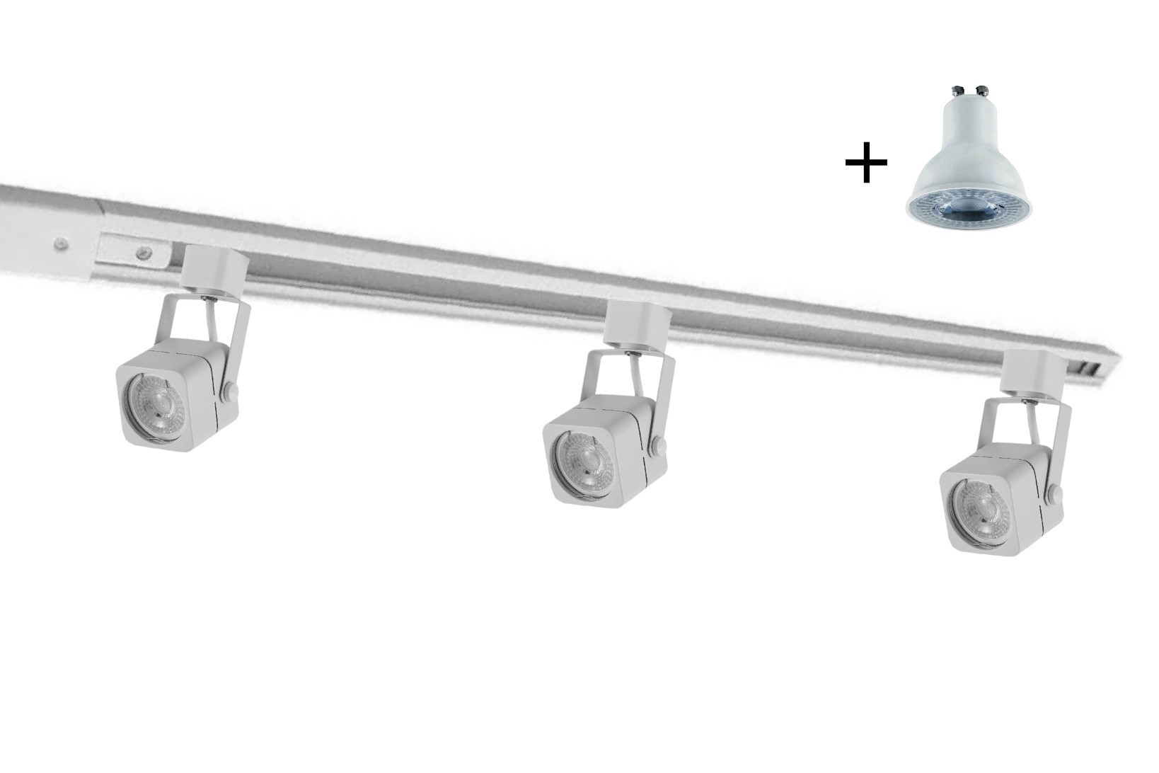 Kit Trilho Eletrificado 1m Branco Nordecor + 3 Spot Quad MR16 / GU10 + Lâmp. Led Luz Quente