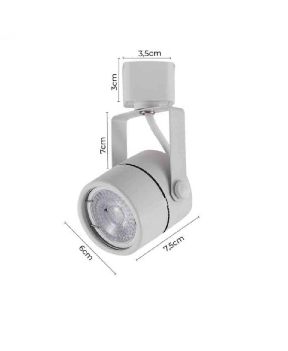 Kit Trilho Eletrificado 1m Branco Nordecor + 3 Spot Redondo MR16 / GU10 MR16 / GU10 + Lâmp. Led Luz Quente