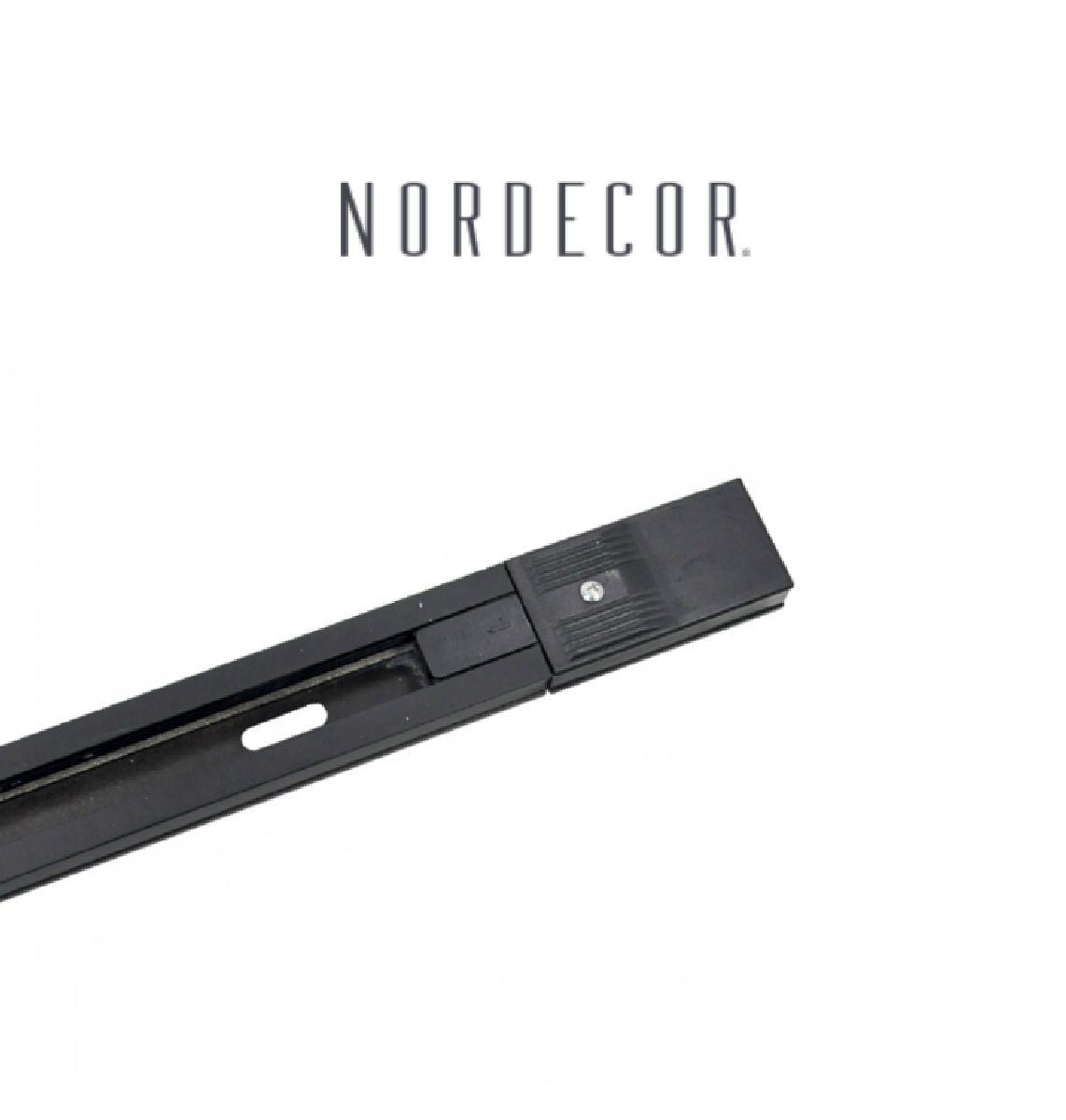 Kit Trilho Eletrificado 1m Preto Nordecor + 3 Spot Quad MR16 / GU10 Para Sala Quarto Cozinha Quadro
