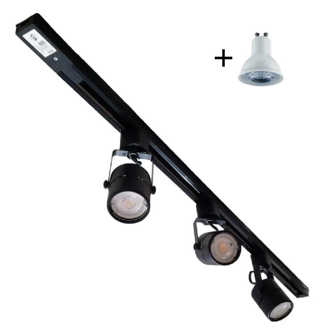 Kit Trilho Eletrificado 1m Preto Nordecor + 3 Spot Redondo MR16 / GU10 + Lâmp. Led Luz Quente