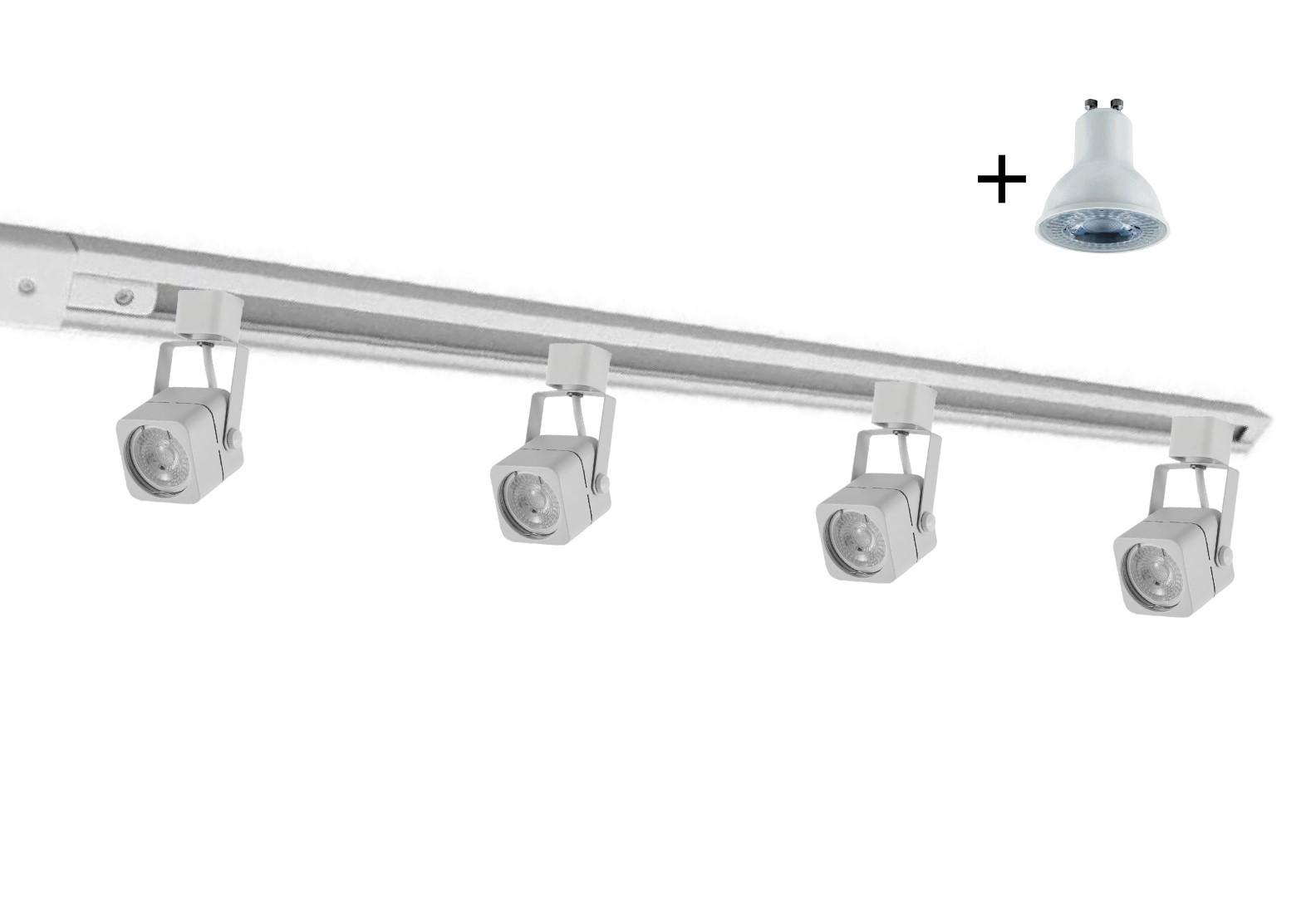 Kit Trilho Eletrificado 2m Branco Nordecor + 4 Spot Quad MR16 / GU10 + Lâmp. Led Luz Quente