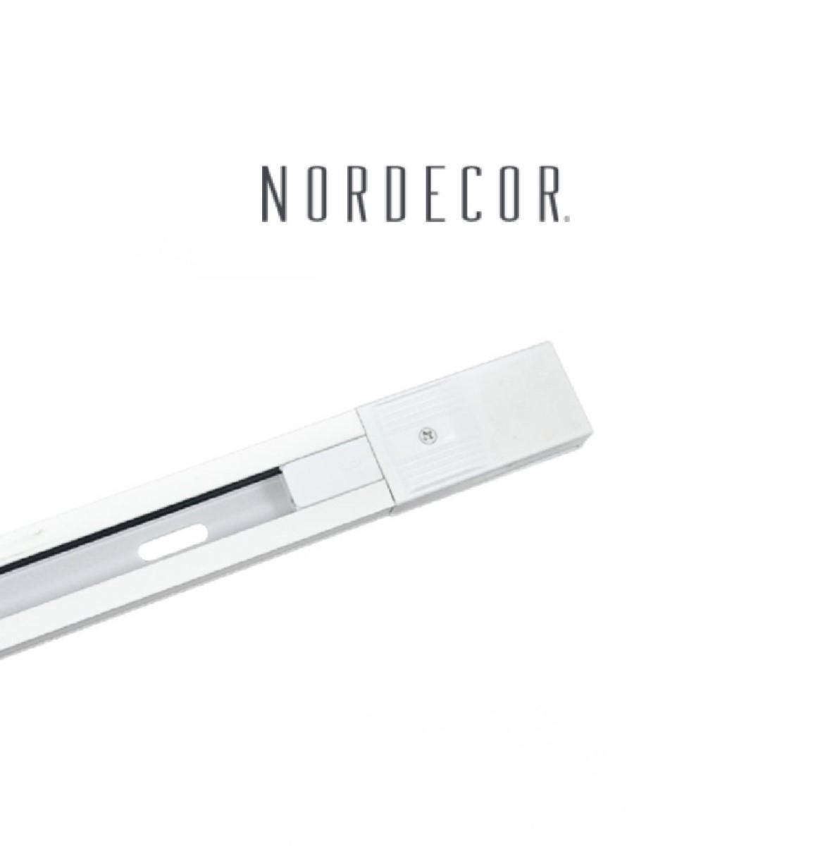 Kit Trilho Eletrificado 2m Branco Nordecor + 4 Spot Redondo MR16 / GU10 Para Sala Quarto Cozinha Quadro