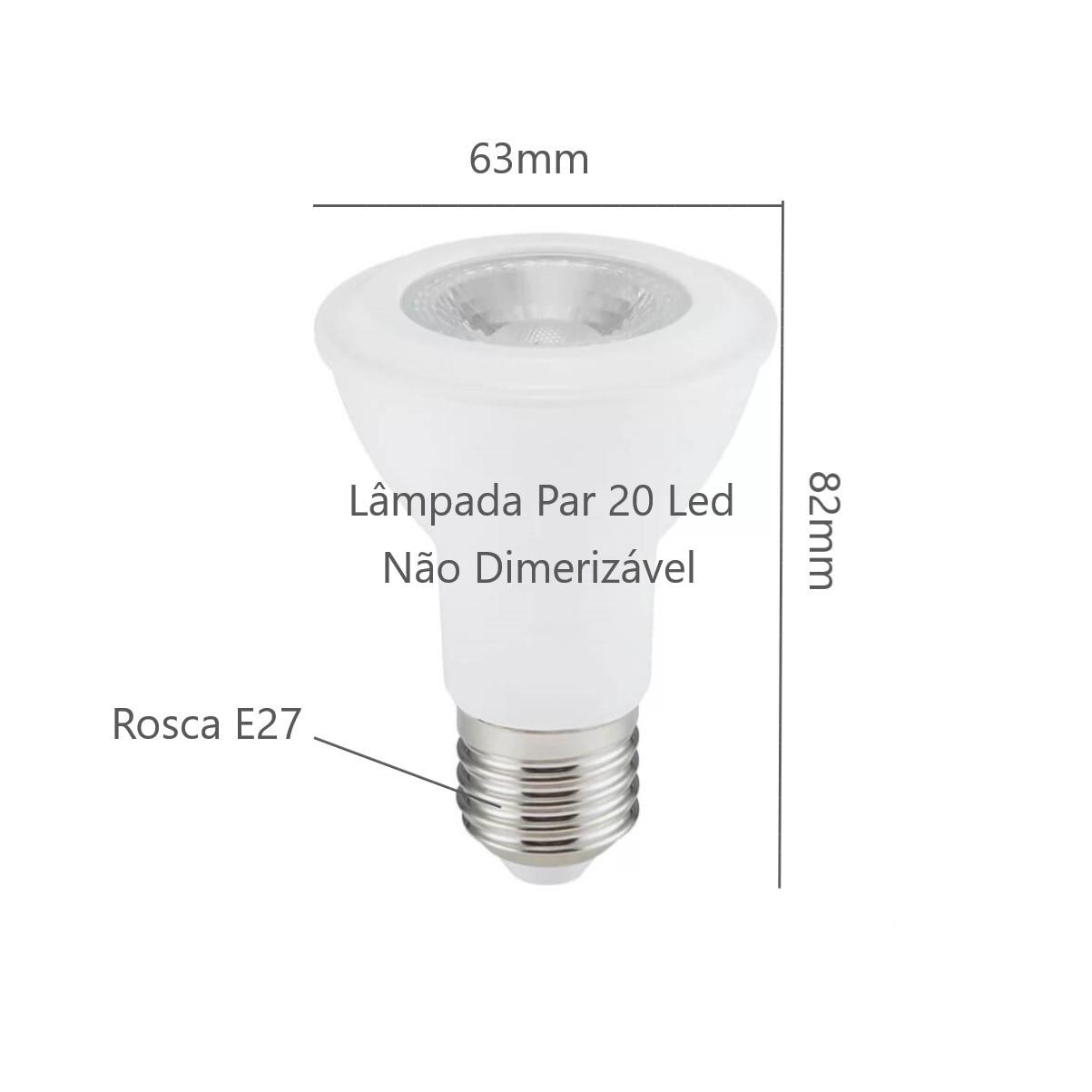 Kit Trilho Eletrificado 2m Branco Oko Nordecor + 4 Spot Par20 + Lâmp. Led Luz Quente
