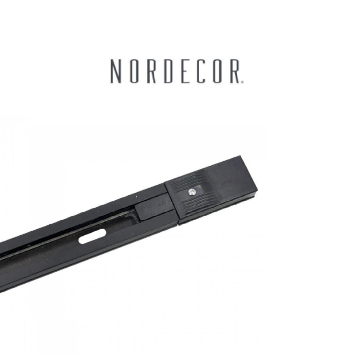 Kit Trilho Eletrificado 2m Preto Nordecor + 4 Spot Quad MR16 / GU10 Para Sala Quarto Cozinha Quadro