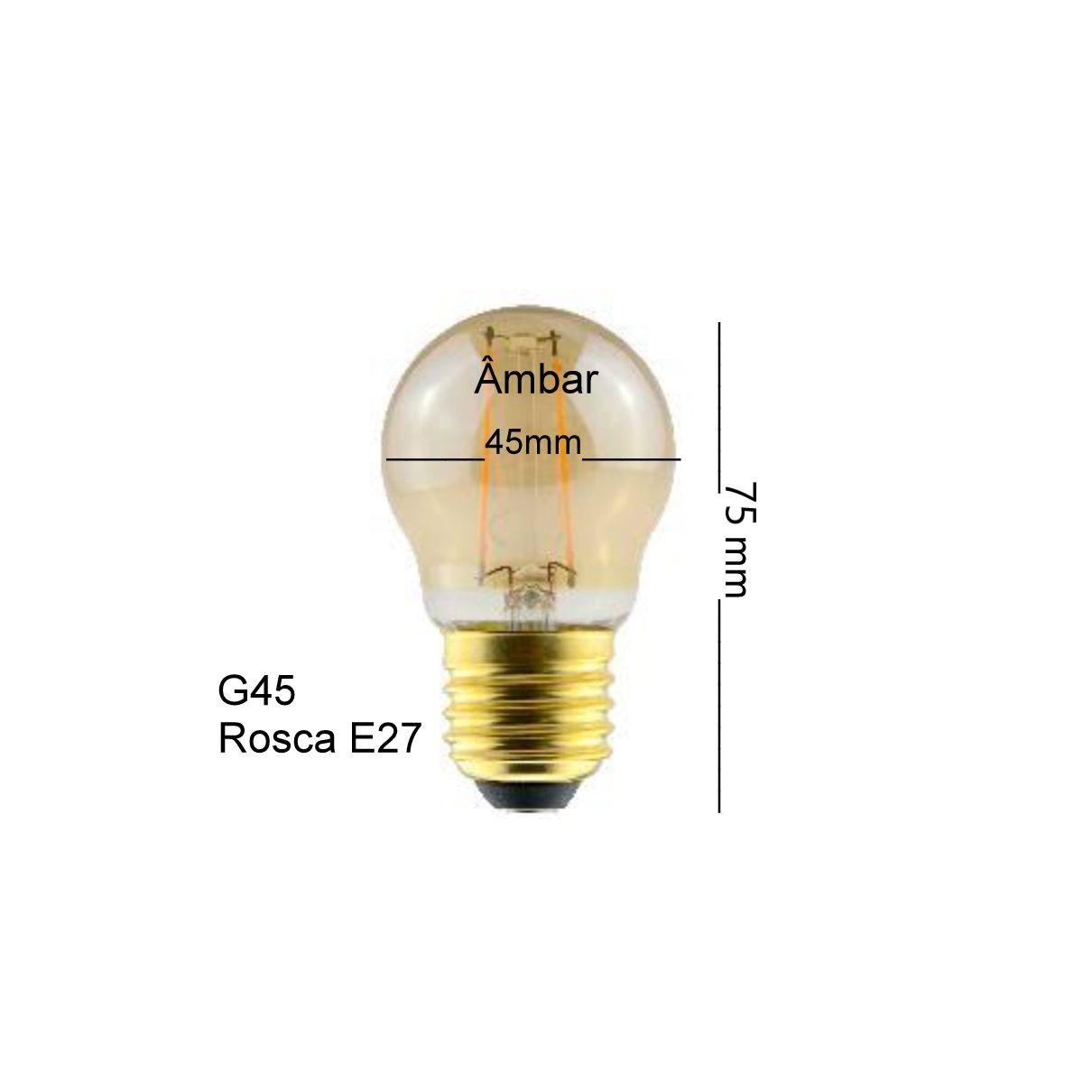Lâmpada Bolinha Filamento Led 2w G45 E27 Luz Quente 2200k Vintage