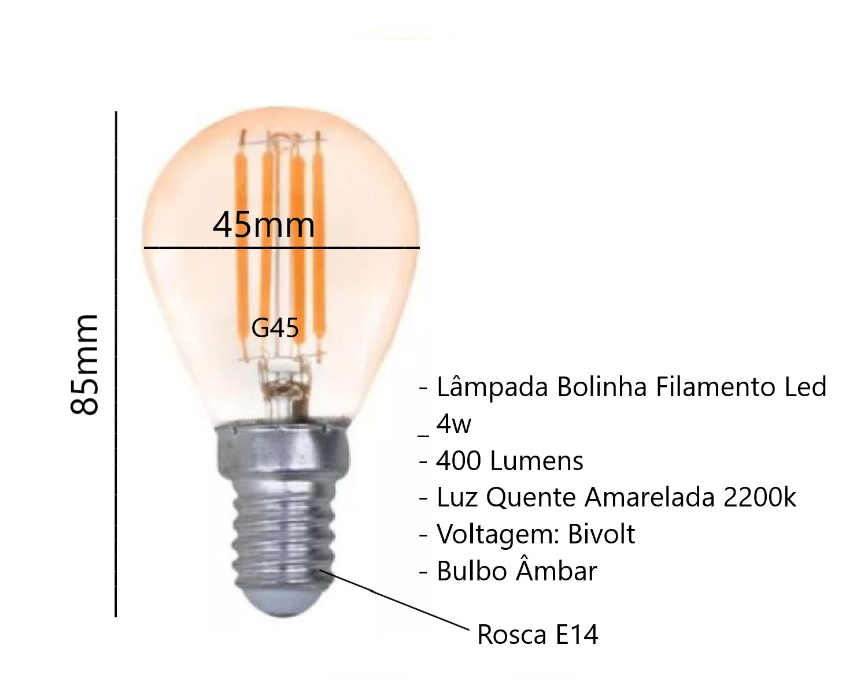 Lâmpada Bolinha Filamento Led 4w G45 E14 Luz Quente 2200k Vintage