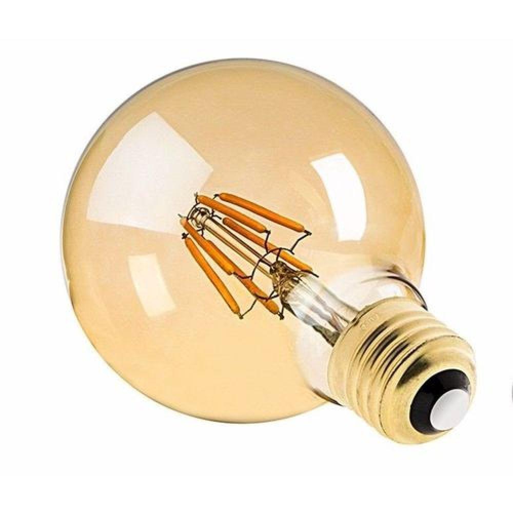 Lâmpada Filamento Led 4w Retro Globo Âmbar G95 Luz Amarela E27 Vintage Bivolt
