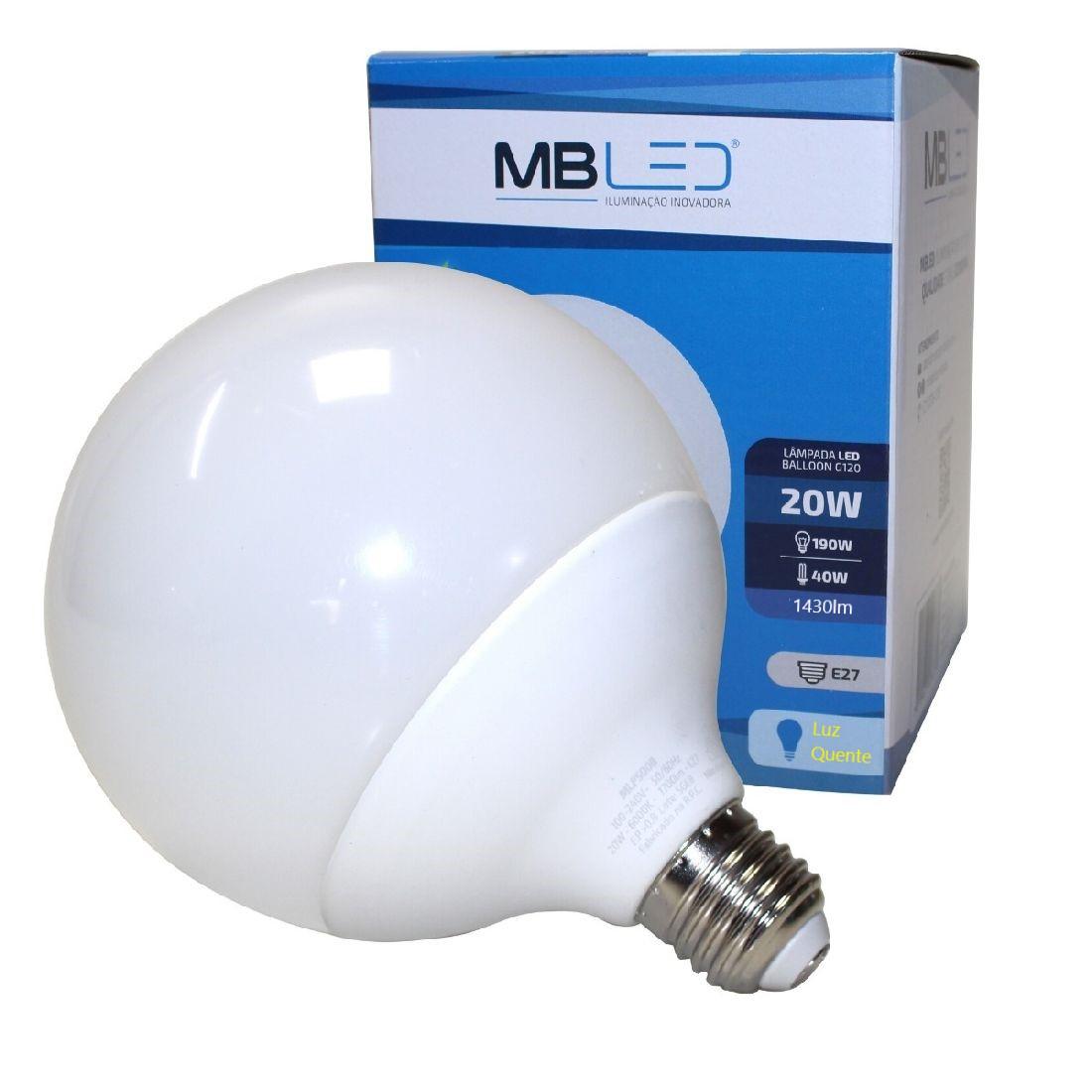 Lâmpada Led Bulbo Balloon Leitosa Globo G120 20w E27 Bivolt