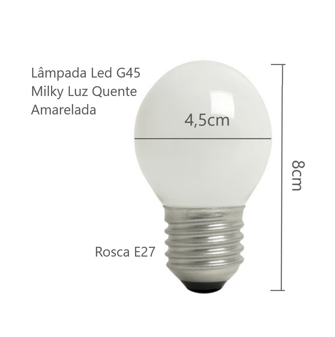 Lâmpada Led Bolinha G45 Milky 4w E27 Bivolt Para Luminária Arandela Lustre Pendente