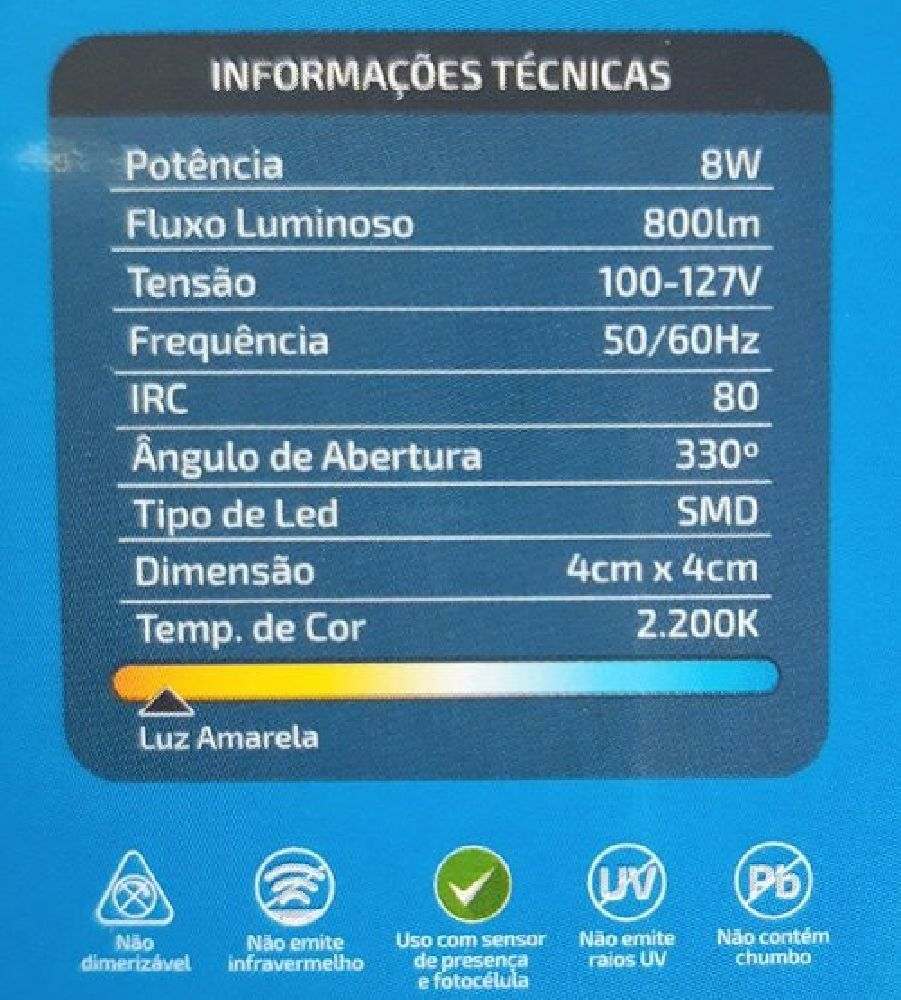 Lâmpada Led Halopin G9 8W 2200K 800lm 127V Luz Quente MBLED