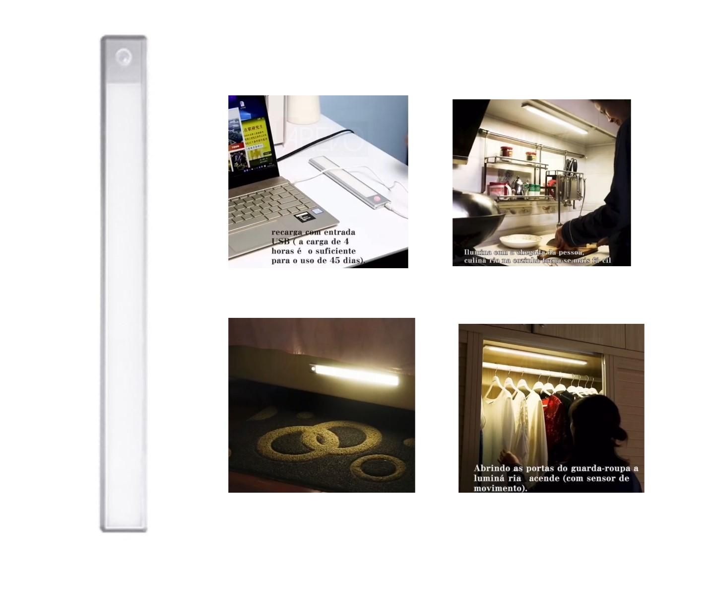 Luminária Led com Sensor de Presença a Bateria sem Fio Para Armário Closet Escada Garagem