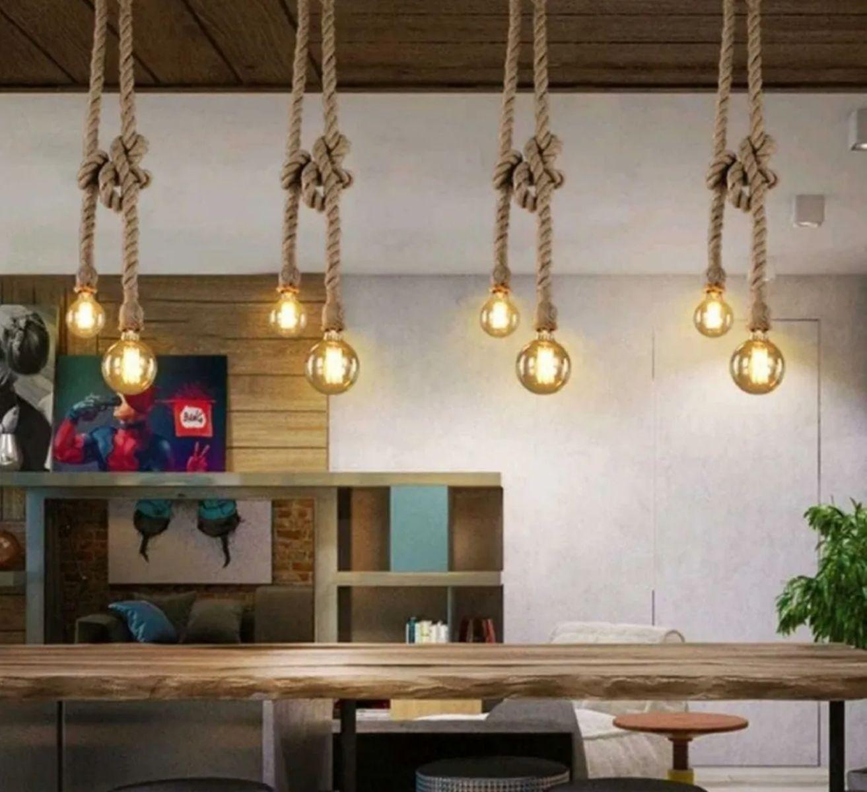 Luminária Pendente Corda Dupla Rústico Retro Para Quarto Bancada Gourmet