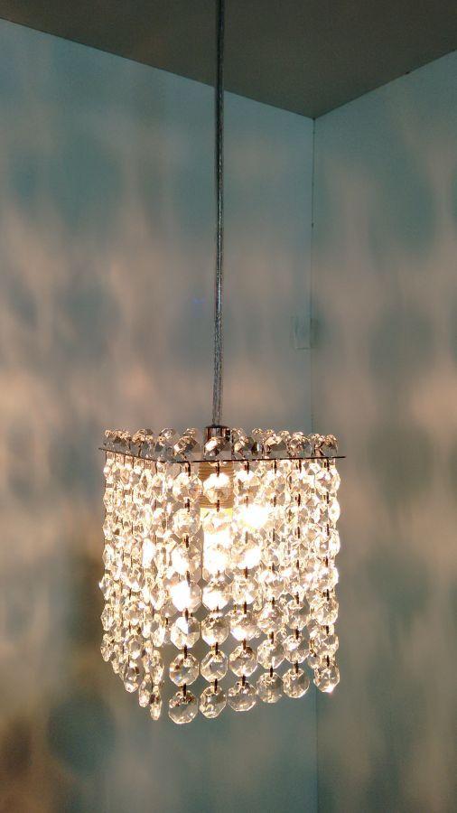Luminária Pendente De Cristal 11cm Mesa Balcão Quarto Bancada Passa Prato C/ Lâmpadas Led