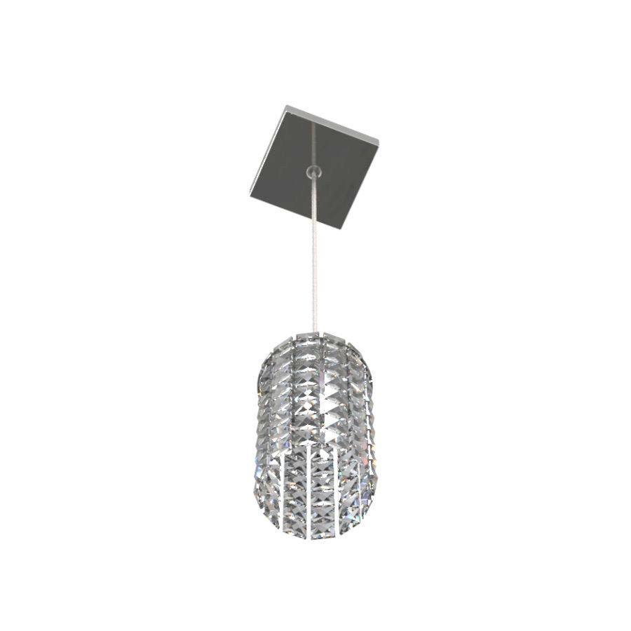 Luminária Pendente De Cristal 11cm Mesa Balcão Quarto Cabeceira de Cama C/ Lâmpadas Led