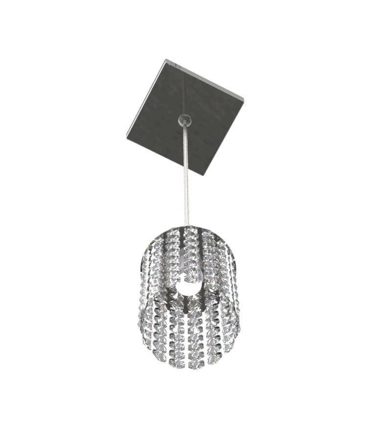 Luminária Pendente De Cristal 9cm Mesa Balcão Quarto Bancada Passa Prato C/ Lâmpadas Led