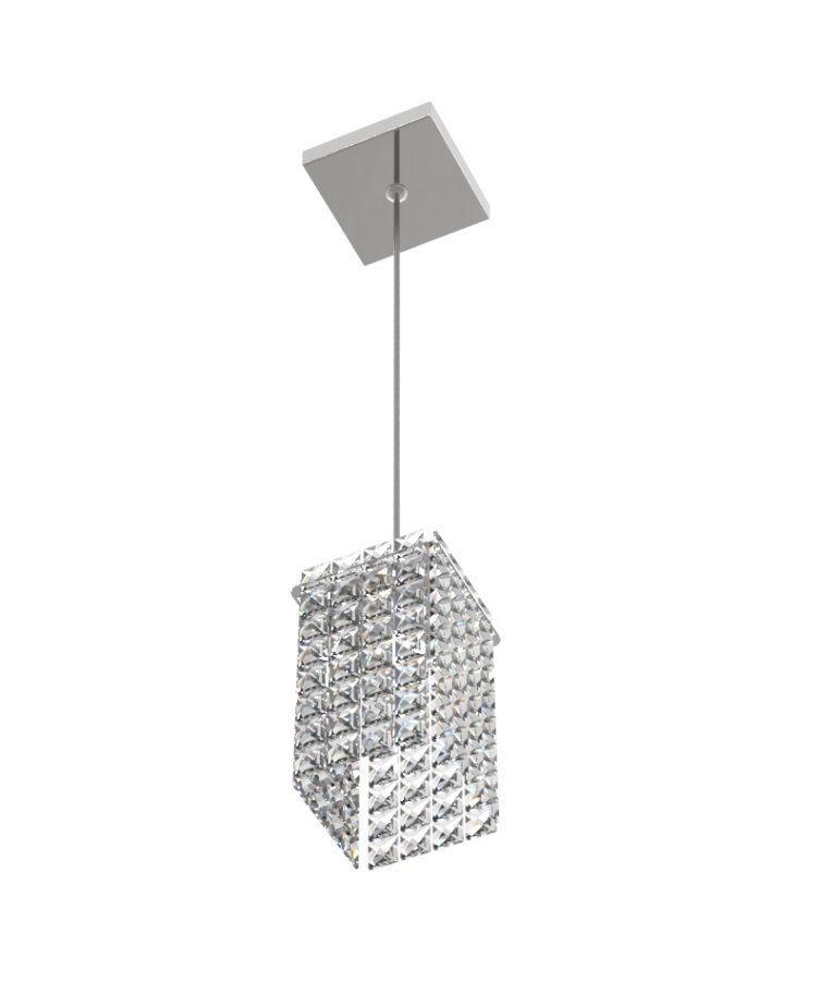 Luminária Pendente De Cristal Legitimo 11cm Mesa Balcão Quarto Bancada Passa Prato C/ Lâmpadas Led