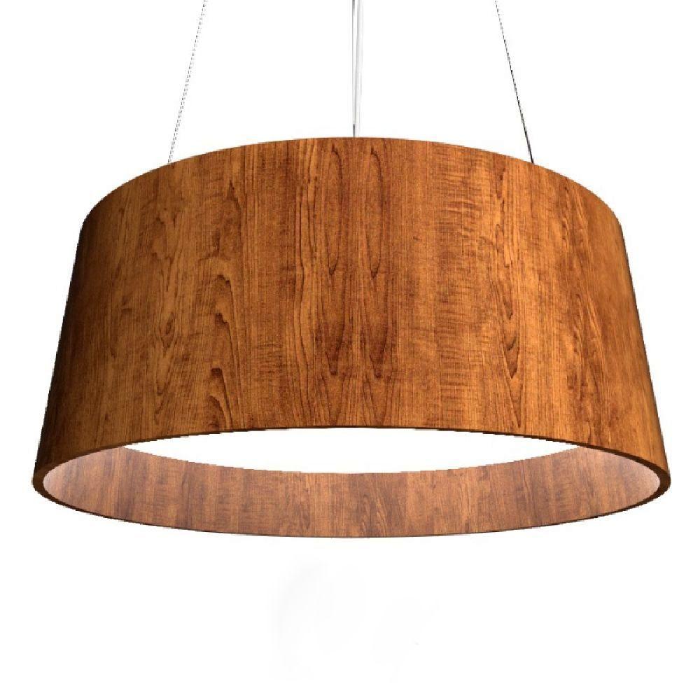 Luminária Pendente em Madeira 62cm Mesa Sala de Jantar Área Gourmet  Accord