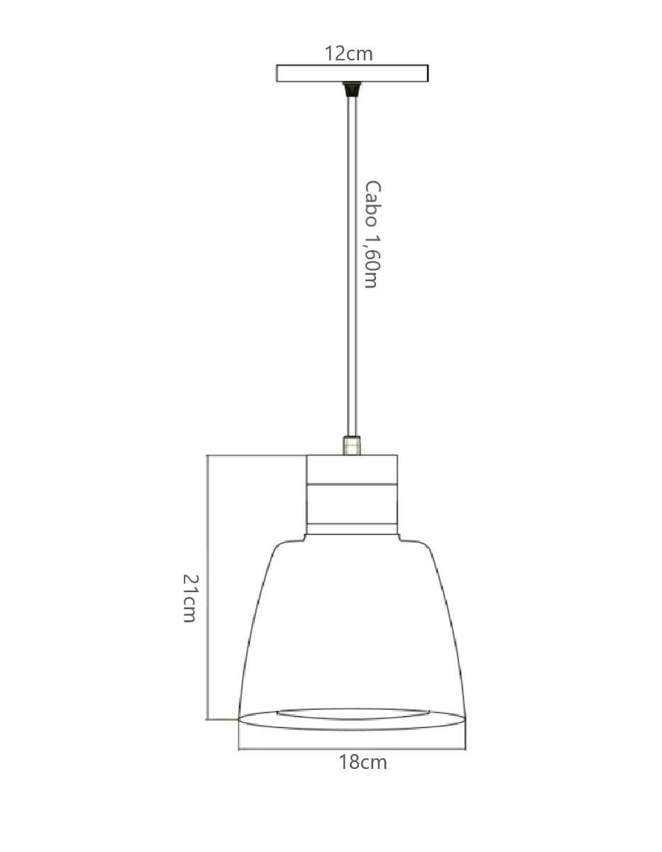 Luminária Pendente Led Torre Para Balcão Mesa Bancada Área Gourmet