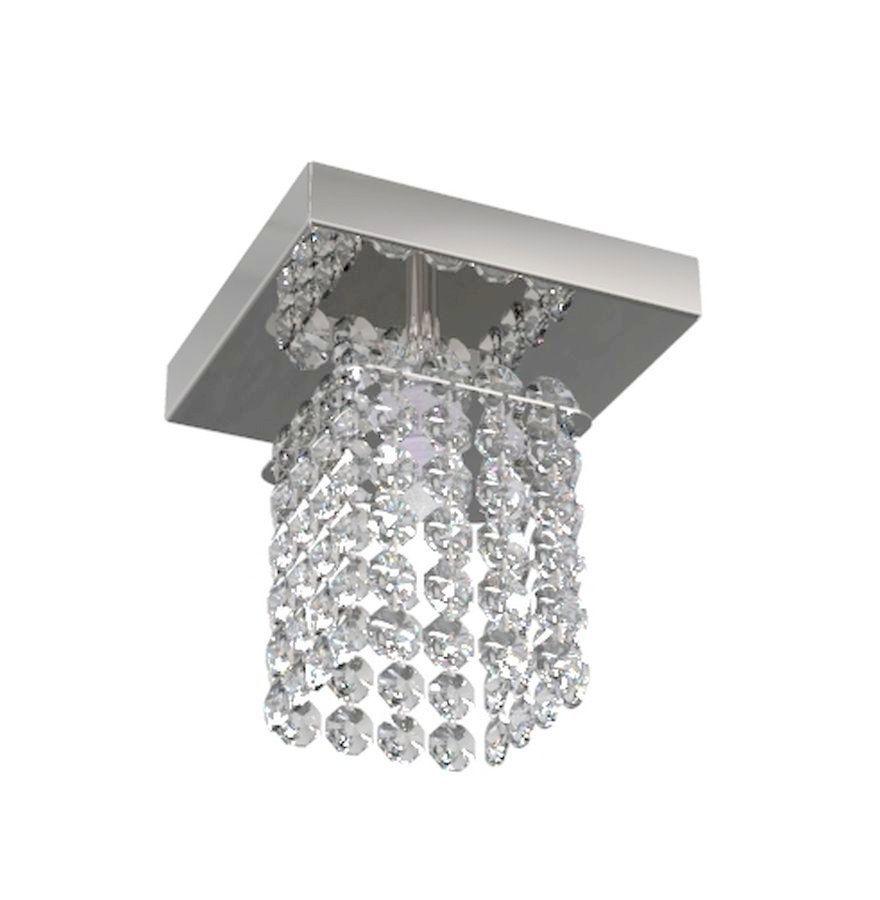 Luminária Plafon De Cristal Quadrado 12cm Balcão Bancada Lavabo Corredor
