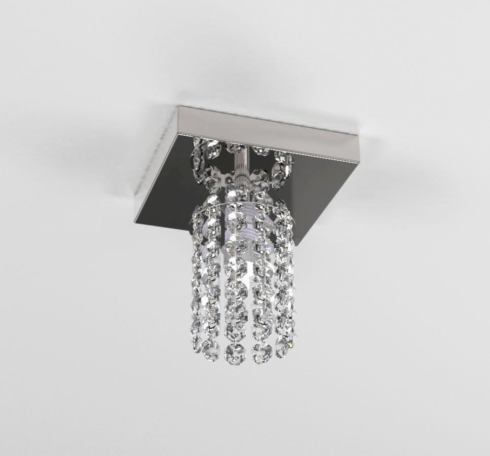 Luminária Plafon De Cristal Redondo 12cm Balcão Bancada Lavabo Corredor C/ Lâmpadas Led