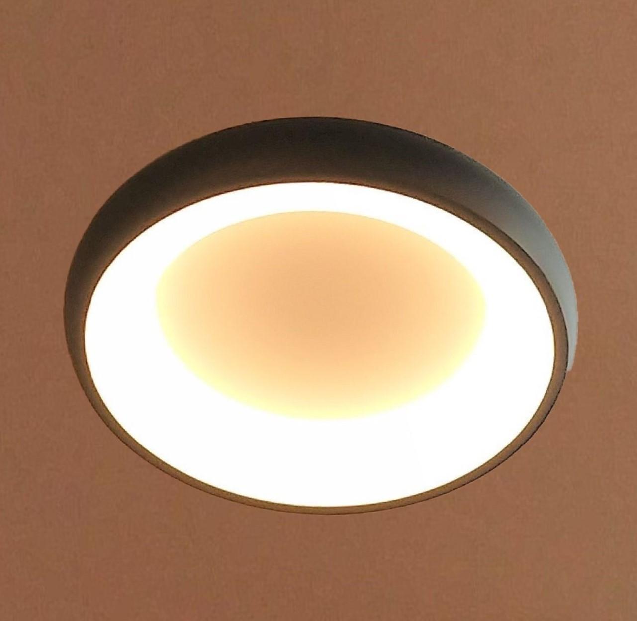 Luminária Plafon De Led Redondo 42cm Preto Para Sala Quarto Corredor Hall Área Gourmet