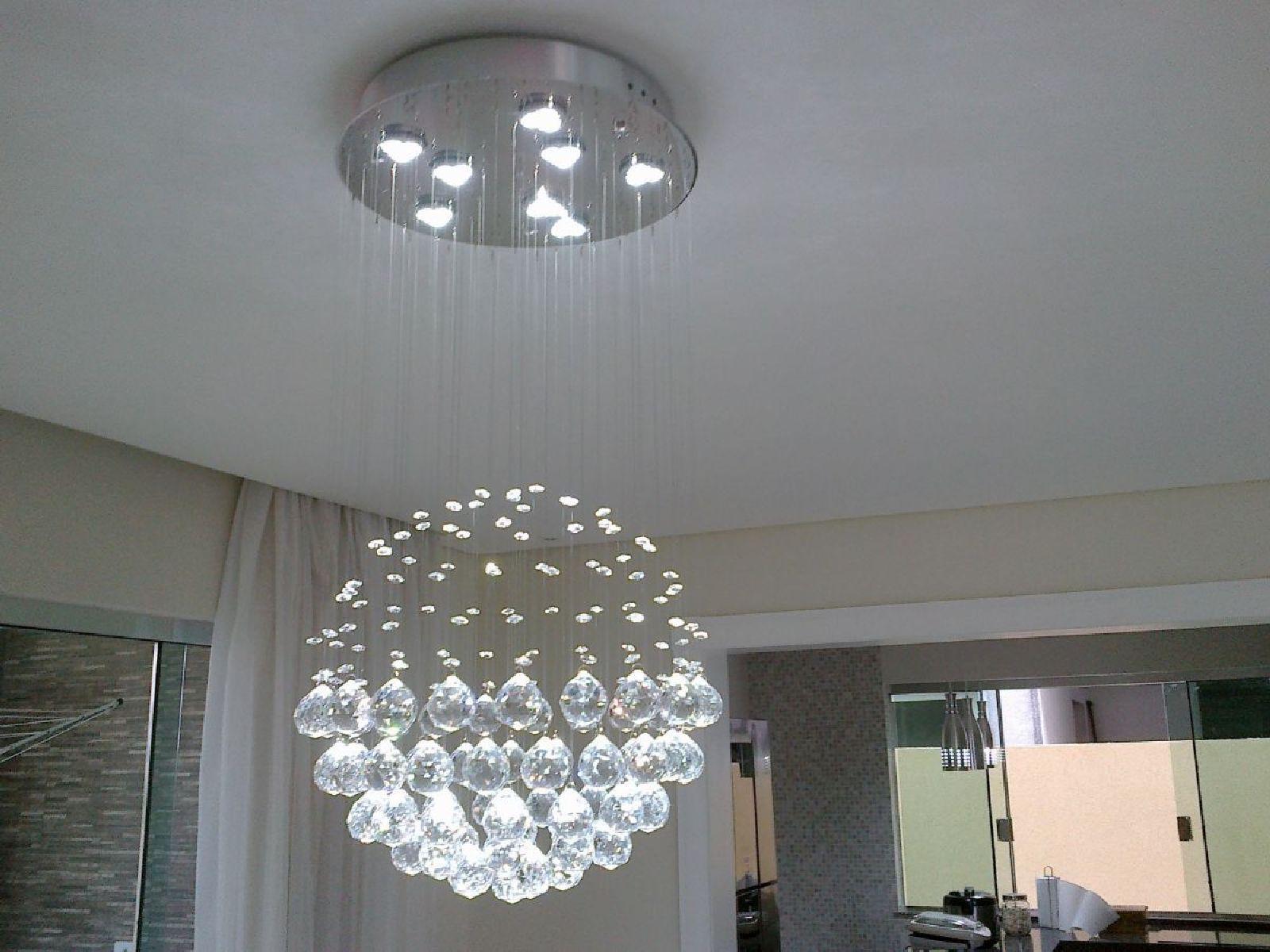 Lustre de Cristal Legitimo Globo 40cm Sala de Estar Mesa Jantar Quarto Living G140 Com Lampadas Led