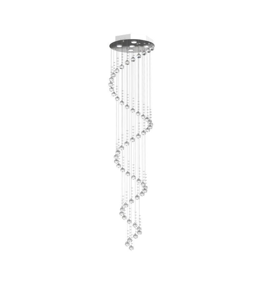 Lustre de Cristal Legitimo Espiral 40cm Pé Direito Duplo Vão de Escada Sala Alta E40