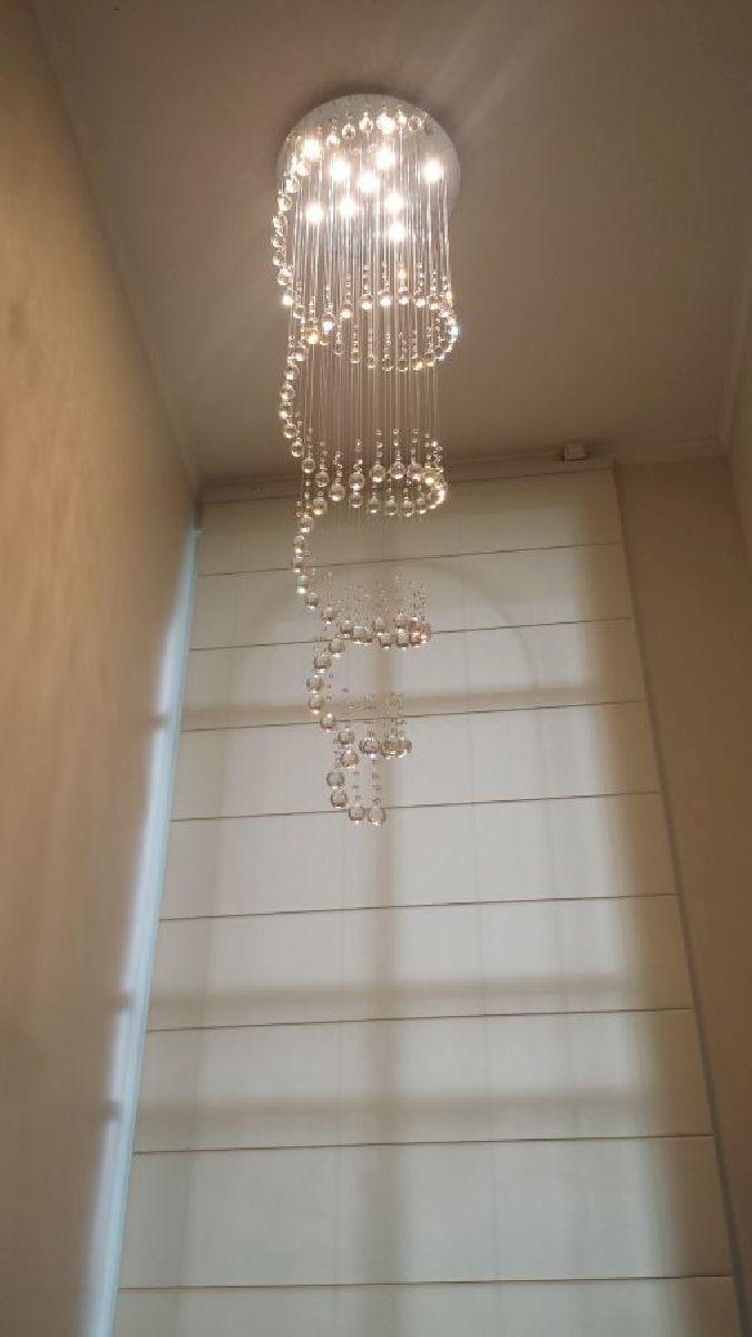 Lustre de Cristal Legitimo Espiral 60cm Pé Direito Duplo Vão de Escada Sala Alta E60
