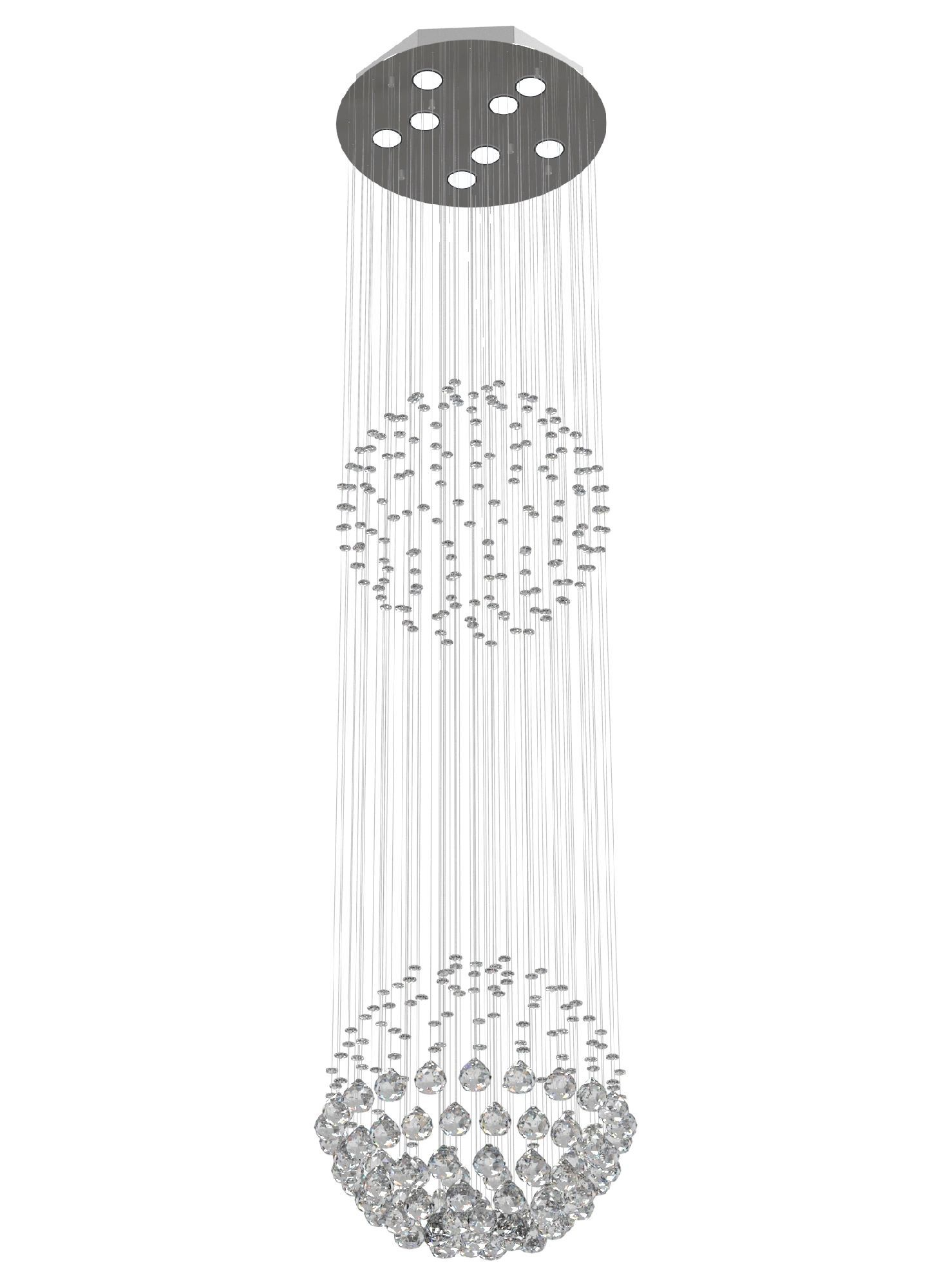 Lustre de Cristal Legitimo Globo Duplo 40cm Pé Direito Duplo Vão de Escada Sala Alta G240