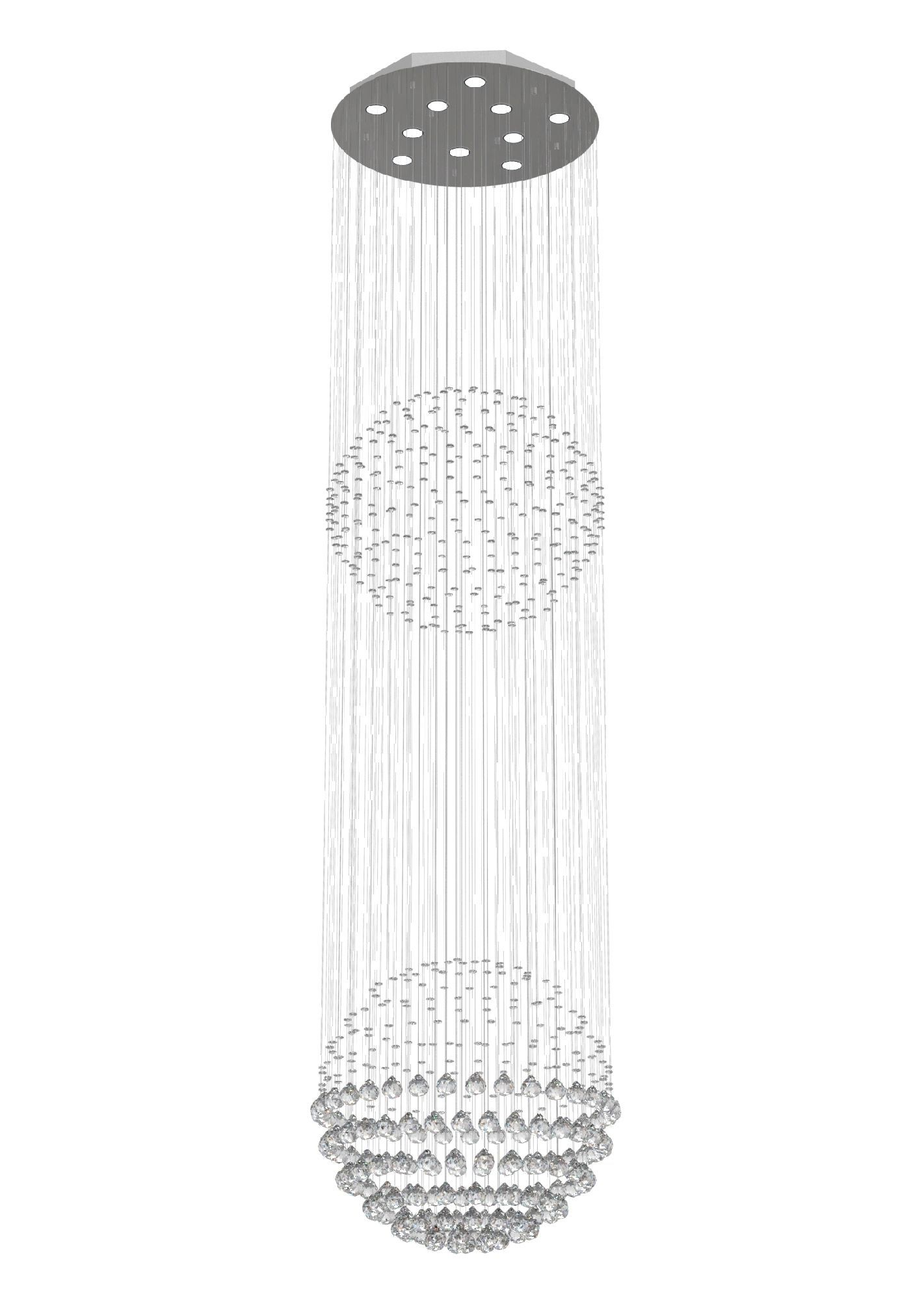 Lustre de Cristal Legitimo Globo Duplo 60cm Pé Direito Duplo Vão de Escada Sala Alta G260