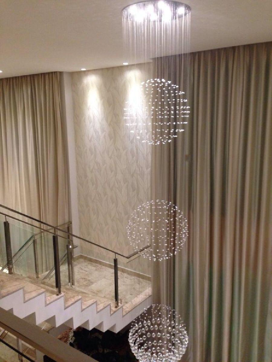 Lustre de Cristal Legitimo Globo Triplo 60cm Pé Direito Duplo Vão de Escada Sala Alta G360