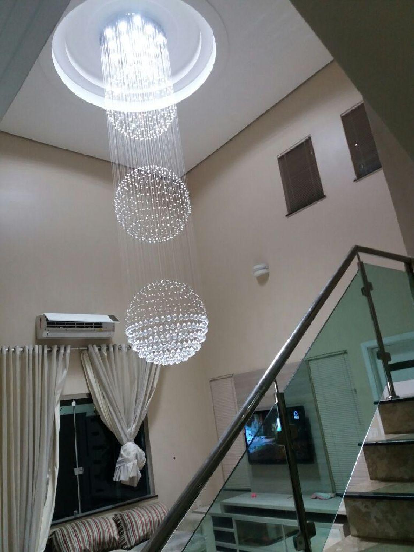 Lustre de Cristal Legitimo Globo Triplo 80cm Pé Direito Duplo Vão de Escada Sala Alta G380