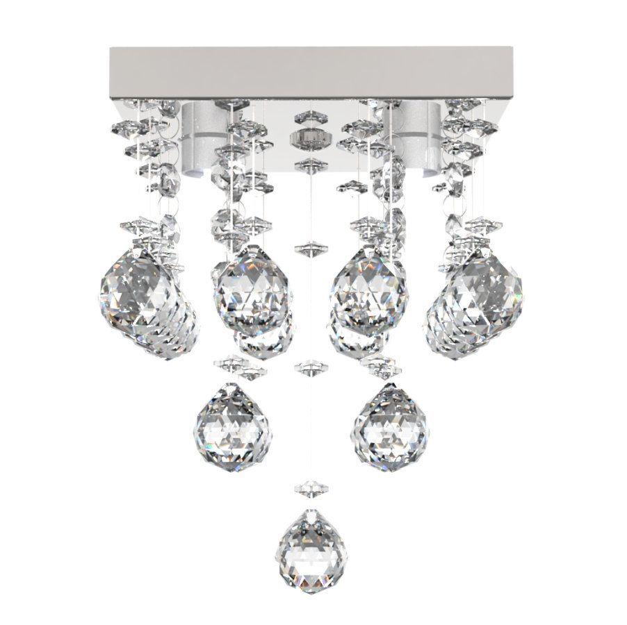 Lustre de Cristal Legitimo 15x15cm Para Lavabo Corredor Banheiro C/ Lâmpadas Led