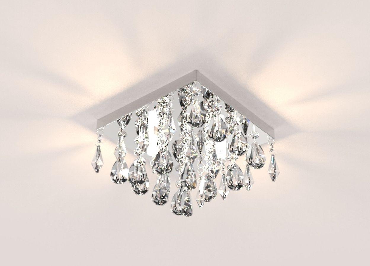 Lustre de Cristal Legitimo 21cm Corredor Lavabo Hall Sacada C/ Lâmpada Led