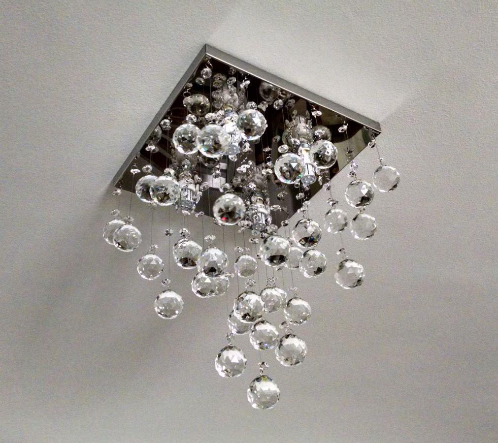 Lustre de Cristal Legitimo 32cm Sala de estar Mesa Jantar Quarto Living Moderno C/ Lâmpada Led